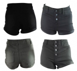 Wholesale Womens Ex Chainstore Denim Turn Up Shorts Button fly